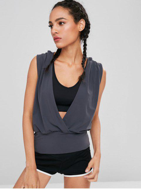 outfits Surplice Hooded Sports Tank Top - DARK SLATE GREY S Mobile