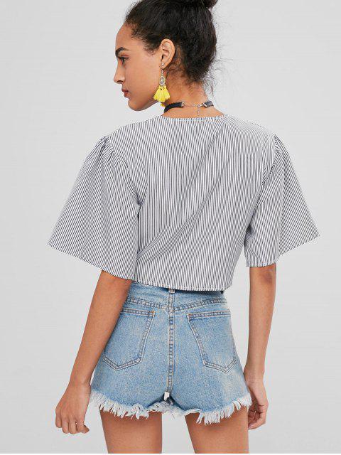 fancy Puff Sleeve Striped Wrap Crop Top - MULTI XL Mobile