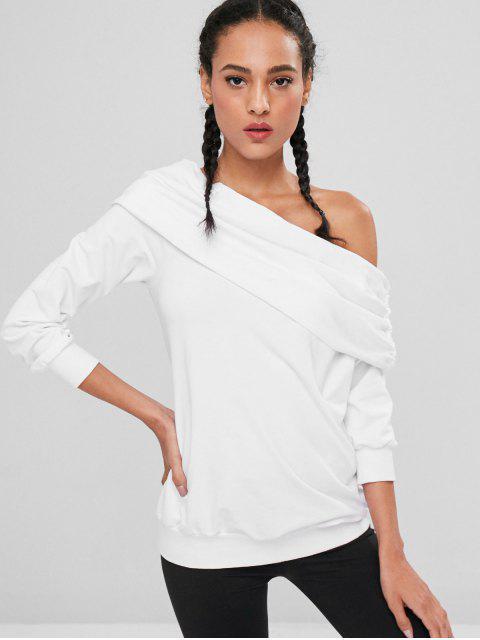 Sudadera con cuello oblicuo plegado - Blanco L Mobile