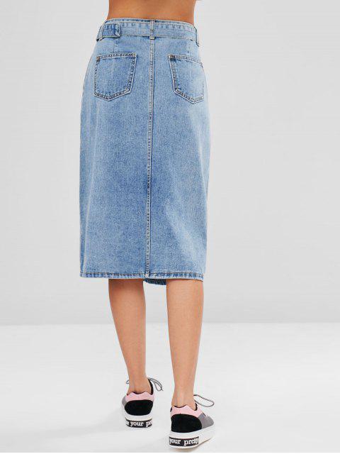 ladies Slit Belted Denim Skirt - JEANS BLUE M Mobile