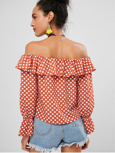 ladies Off Shoulder Polka Dot Top - ORANGE SALMON L Mobile