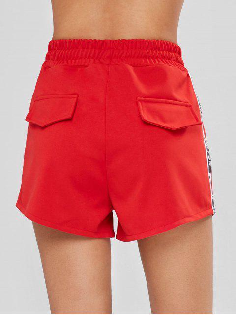 Short Lettre Graphique à Taille Haute - Rouge S Mobile