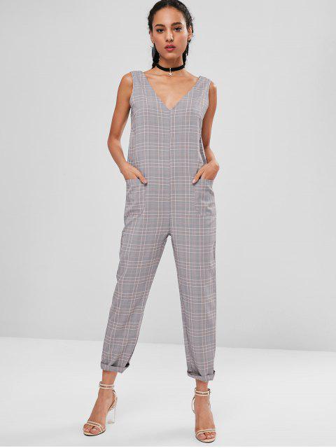 womens Patched Pockets Plaid Jumpsuit - MULTI L Mobile