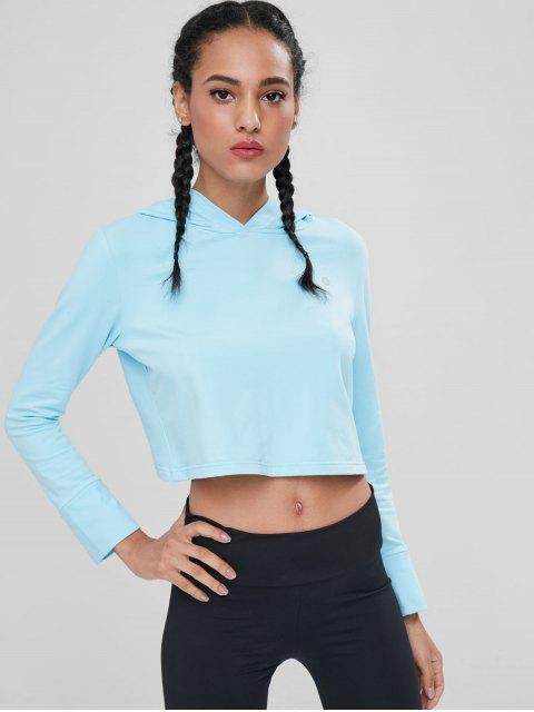 fashion Tulip Back Cropped Sports Hoodie - DAY SKY BLUE M Mobile
