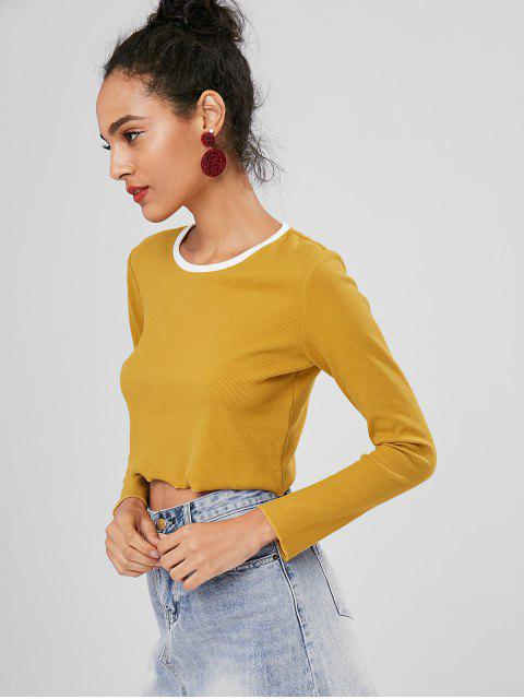 hot Long Sleeve Contrast Neck Cropped Tee - MUSTARD L Mobile