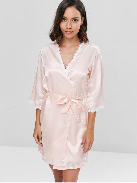 fancy Contrast Lace Satin Chemise and Sleeping Robe Set - APRICOT L Mobile