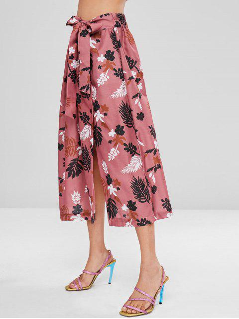 fashion Button Up Tied Print Long Skirt - PINK BOW M Mobile