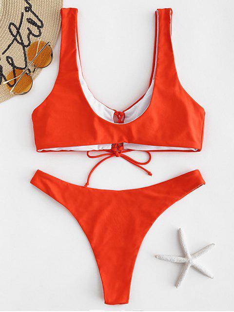 Tank-Bikini-Set mit Schnürung - Leuchtend Orange L Mobile