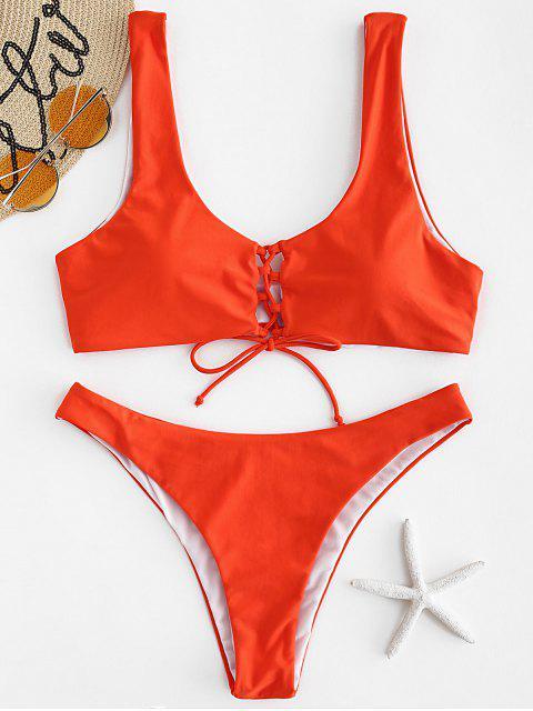 Ensemble de Bikini Plongeant à Lacets - Orange vif L Mobile