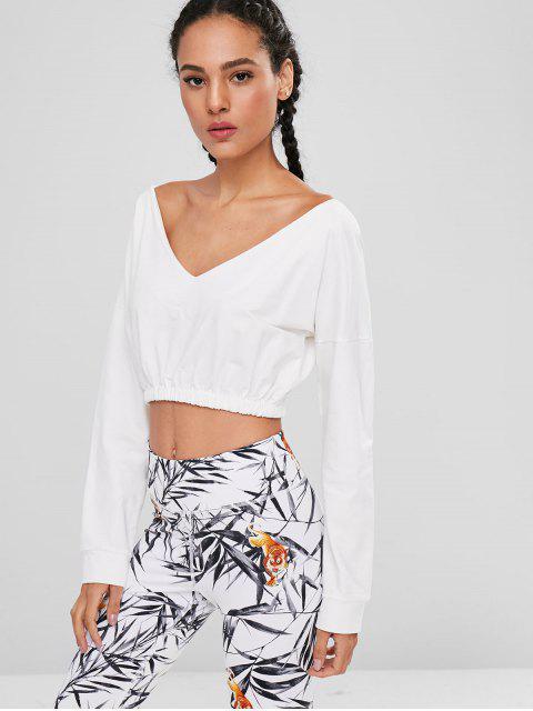 unique Convertible Collar Crop Sweatshirt - WHITE L Mobile