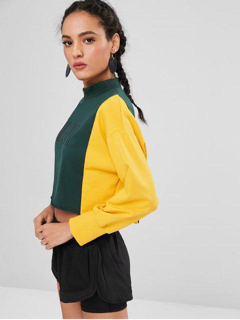 hot ZAFUL Embroidered Two Tone Sweatshirt - DEEP GREEN M Mobile