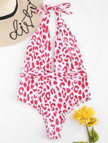 ملابس السباحة هالتر قطعة واحدة مطبوعة - الحب الاحمر S