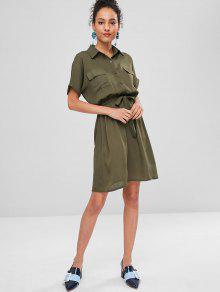Verde S De Con Camuflaje Vestido Lazo Camisa xIa1Y1