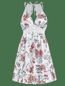 Floral Vestido Abierta Panel Del Blanco Del Espalda Ganchillo S De wwOat