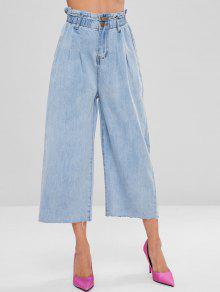ابيض مخصر عالي الساق واسع جينز - أزرق فاتح L
