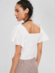 Corta Cuadrado Blanco Manga Cuello Con Mariposa De Camiseta S xBf6qFZ