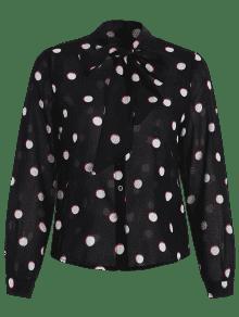De L Gasa Negro Camisa Pussy Bow Dot Polka xCIO8q