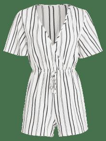 9d7b834529a3 2019 Surplice Striped Flowy Romper In WHITE L