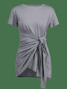 Camiseta Godet Tie Gris Vestido Front Overlay FFanzqxZ
