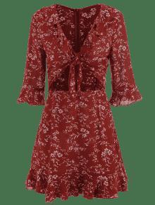 Y S Volantes Abierto Cereza Minifalda Rojo Lazo Con Corta E8AwSt