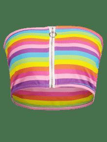 Multicolor Crop S Zip Arco Iris Tube Top CwRqaqZ