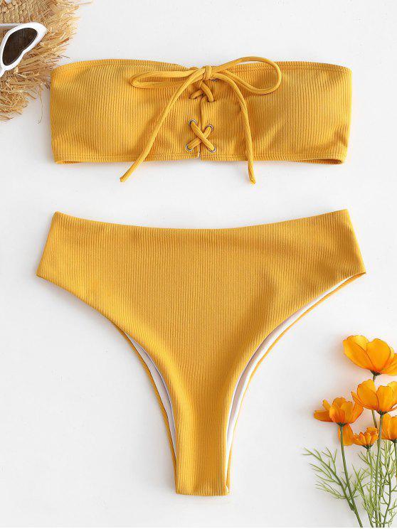 Geripptes Schnürung Hoch Tailliertes Bikini-Set - Helles Gelb M