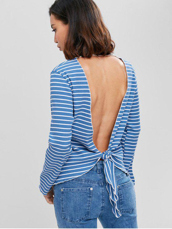 sale Striped Ribbed Cut Out Top - WINDOWS BLUE L