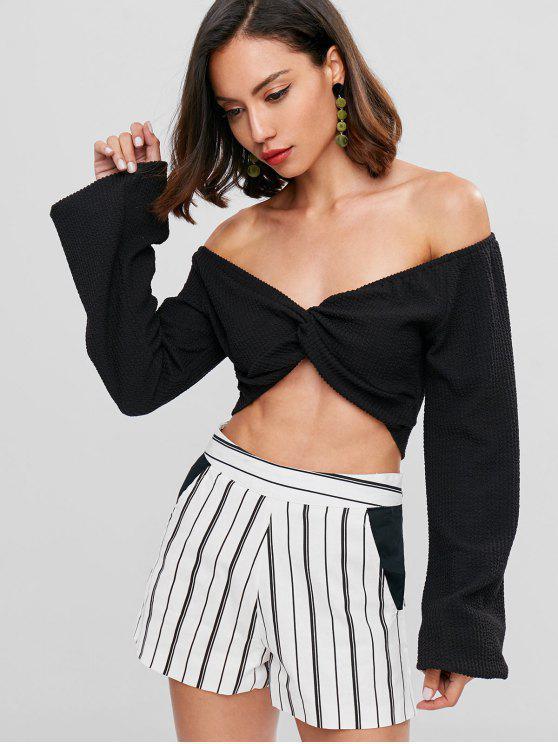 womens Off Shoulder Twist Front Top - BLACK L