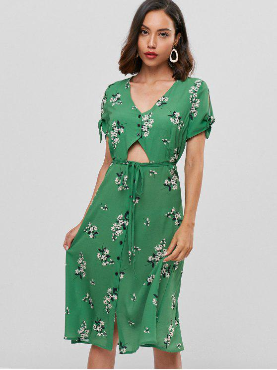 lady Floral Cut Out Button Front Midi Dress - GREEN S
