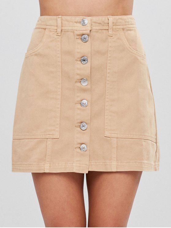 outfits Button Up Cargo Pockets Twill Mini Skirt - TAN M
