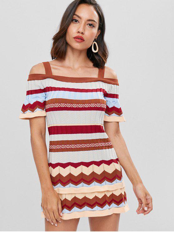 buy Cold Shoulder Striped Mini Sweater Dress - MULTI ONE SIZE