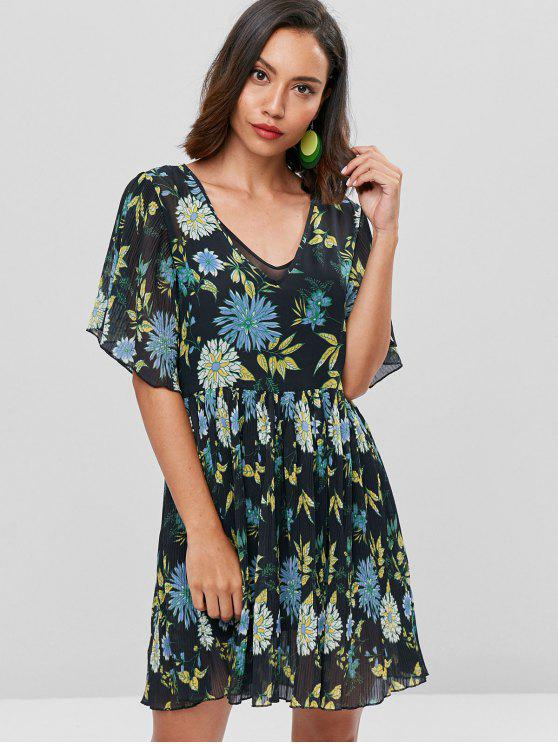 women's Floral Print Smock Pleated Dress - BLACK M