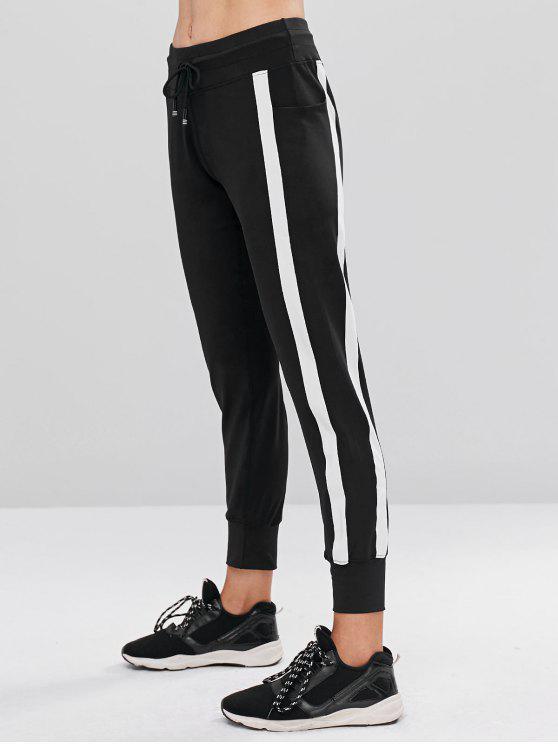 women Contrast Drawstring Sports Jogger Pants - BLACK L