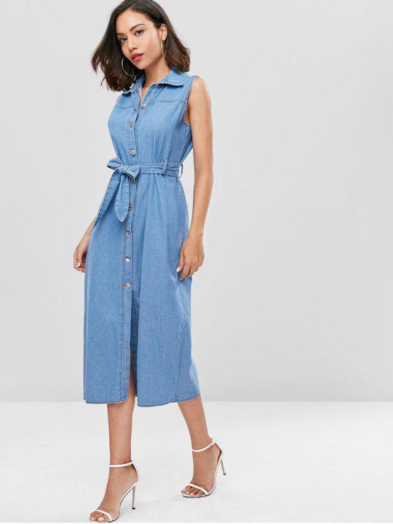 Gürtel Knopf Oben Denim-Kleid - Denim Blau S