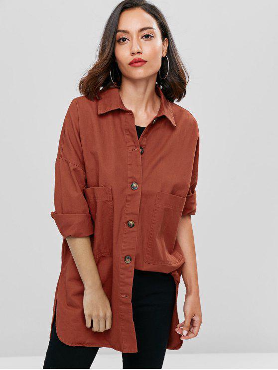 new Oversized Denim Pocket Button Up Shirt - CHESTNUT M