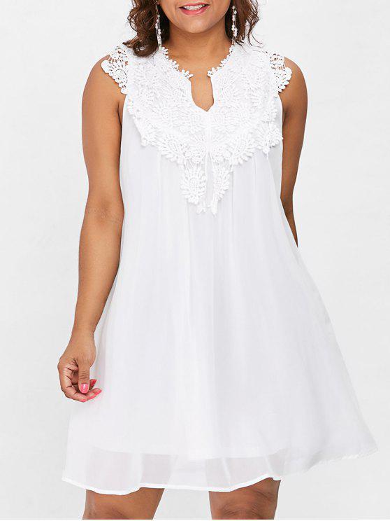 Übergroße Spitze Chiffon Kleid - Weiß 4XL