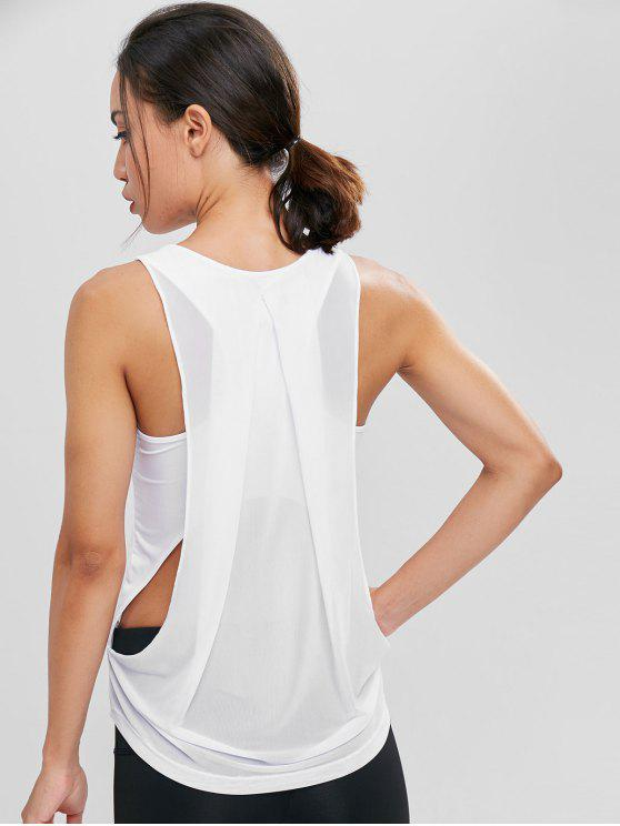lady Asymmetric Mesh Draped Sports Tank Top - WHITE S