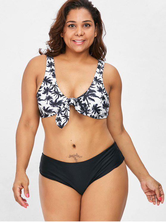 hot Knot Coconut Palm Plus Size Bikini Set - BLACK 3X