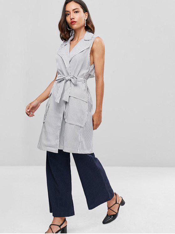 ladies Striped Belted Back Slit Waistcoat - WHITE M