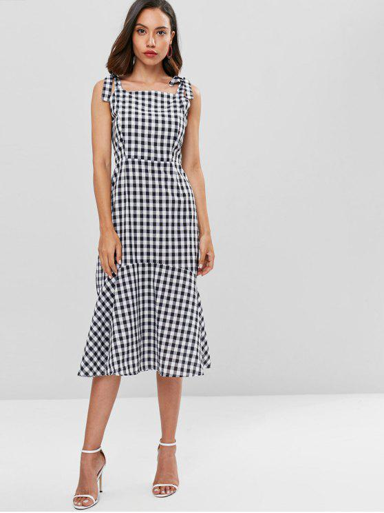 new Tied Straps Plaid Mid Calf Dress - BLACK L