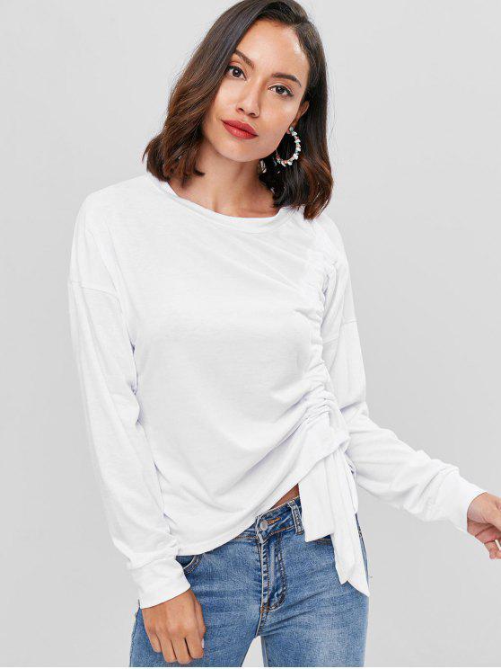 unique Cinched Front Drop Shoulder T-shirt - WHITE M