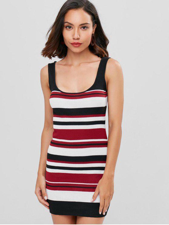 affordable Striped Mini Tank Dress - RED WINE L