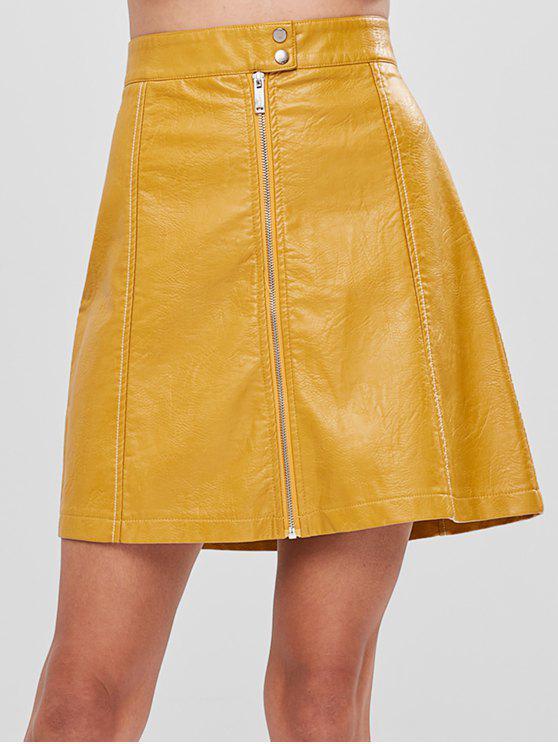 تنورة خط فو جلدية - الأصفر XS