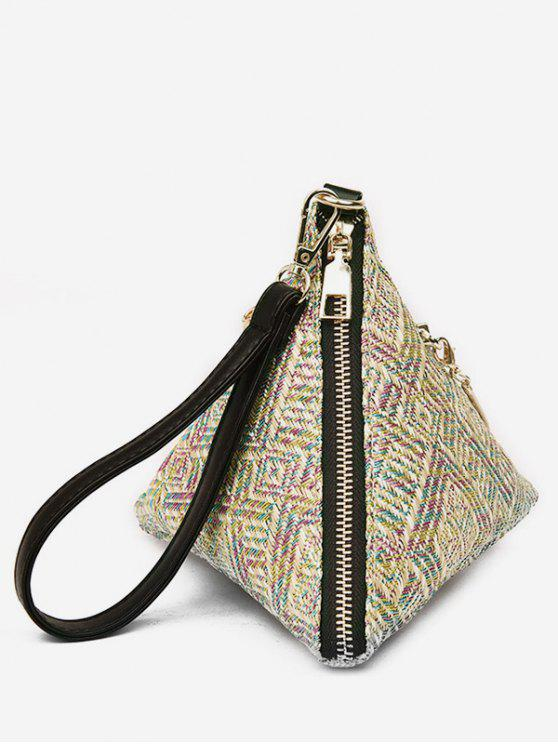 chic Wrist Strap Triangle Handbag - MULTI-A