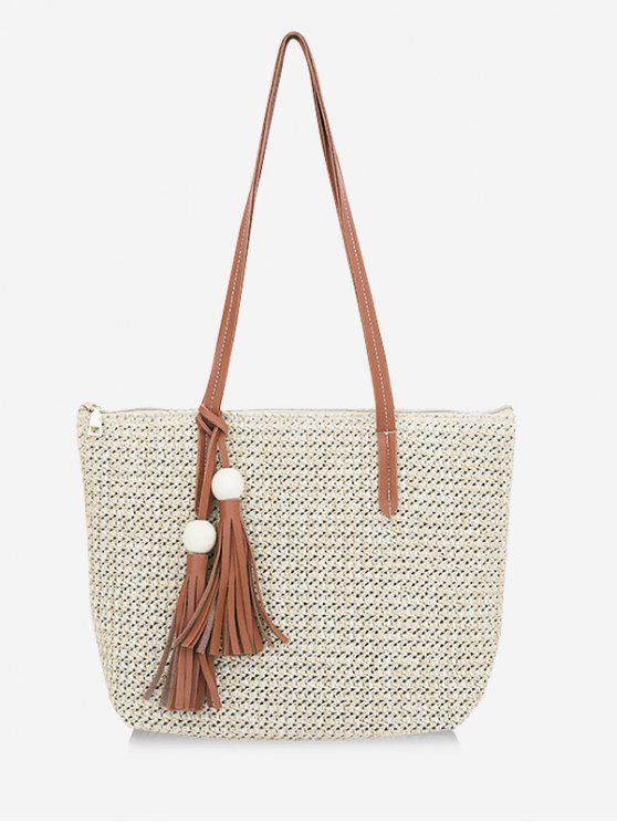 sale Straw Braided Large Capacity Shoulder Bag - LIGHT KHAKI