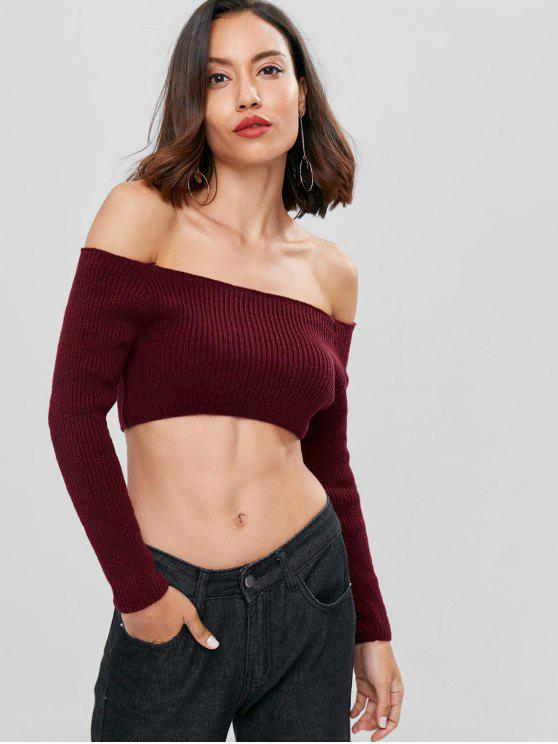 chic Off Shoulder Cropped Sweater - RED WINE L
