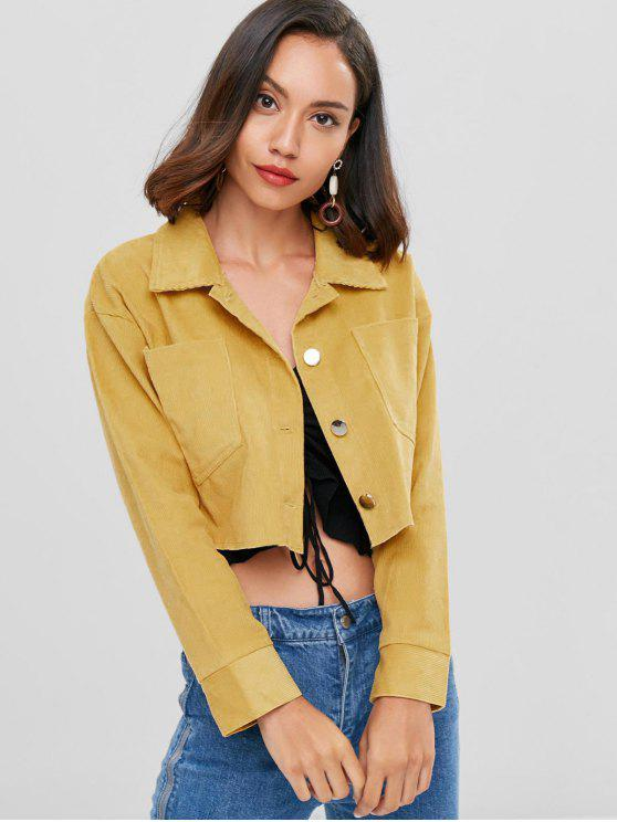 chic Drop Shoulder Corduroy Cropped Jacket - GOLDENROD M