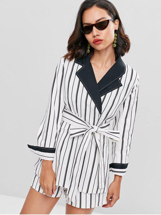 latest Lapel Striped Belted Blazer - WHITE M