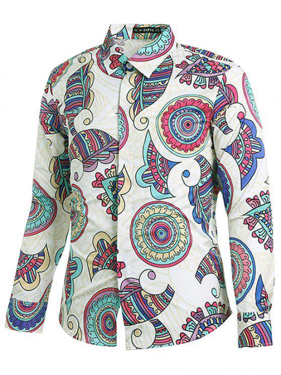 نمط العرقية طباعة قميص هندسي - حليب ابيض S