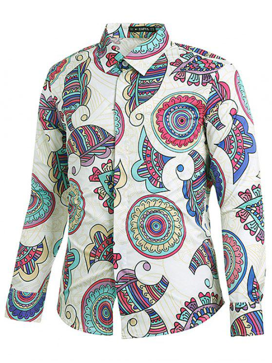women Ethnic Style Geometric Print Shirt - MILK WHITE L